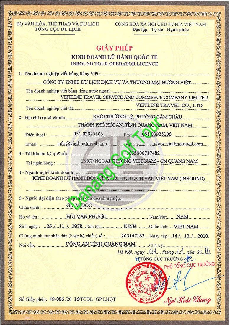 Danang Golf Tour License